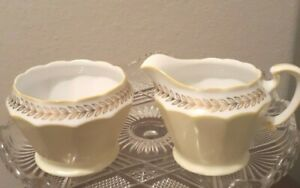 Vtg-Easter-Japan-Cream-and-Sugar-Set-Pale-Yellow-white-amp-Gold-Tea-Party-Noritake