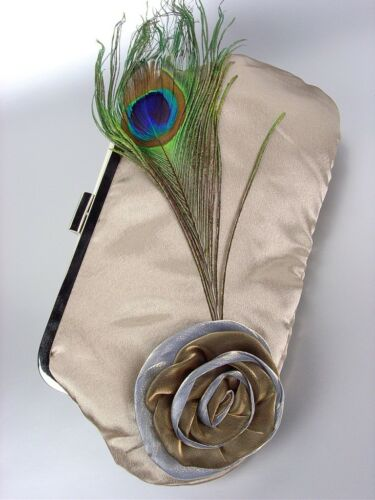 Chic Beige Satin Flower Bouquet Peacock Feather Clutch Evening Purse Bag