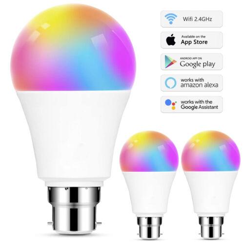 1-5X LED Wifi Smart Light Bulb 12W Dimmable RGBW Lamp B22 For Alexa Google Home