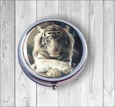 WHITE TIGER NAP PILL BOX ROUND -ghj7Z