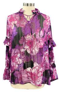 SUSAN-GRAVER-size-S-black-purple-floral-chiffon-long-sleeve-tie-neck-blouse