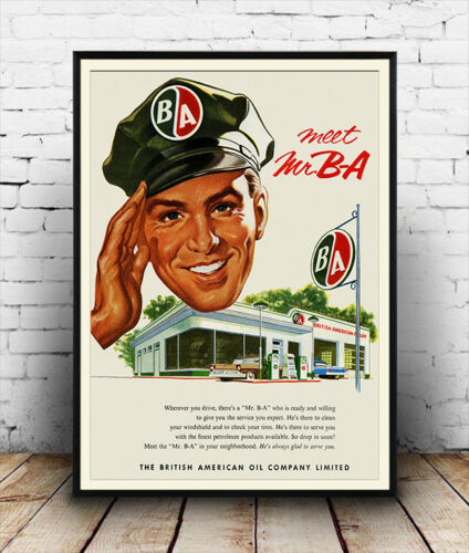 Vintage advertising Reproduction poster Meet Mr BA Wall art.