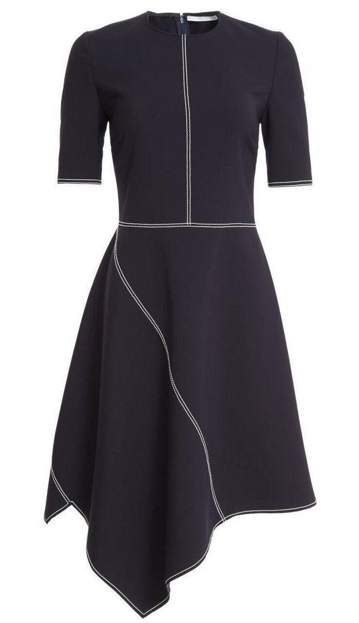 NEW  Stella McCartney 6 40 Topstitch Asymmetrical Dress Ink Dark Navy