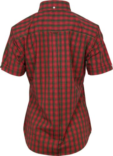 Relco Womens Red Tartan Check Short Sleeve Button Down Collar Shirt Skin Mod NEW