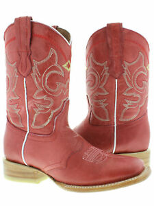 Womens-Red-Plain-Leather-Western-Cowgirl-Boots-Mid-Calf-Casual-Square-Toe