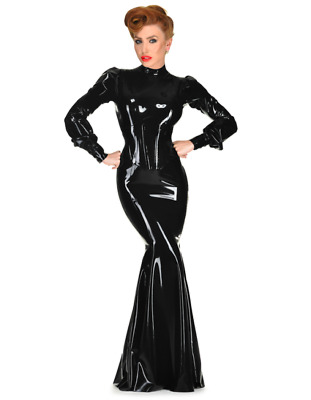 latex catsuit rubber gummi onepiece corset dress vamp