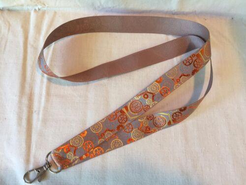 Steampunk Gear Lanyard Key Chain Lightweight Ribbon Gold