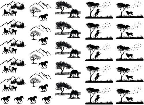 """Horse Scenes 5/""""X7/"""" Card Fused Glass Ceramic Decals 14CC329"""
