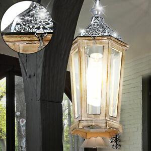Vintage LED Decken Hänge Leuchte Holz Laterne Wohn Zimmer Pendel Lampe Glas