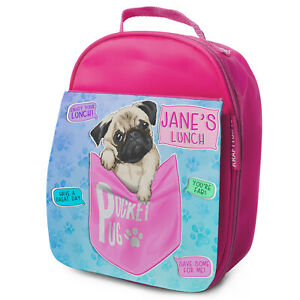 Pug-Puppy-Lunch-Bag-Girls-School-Insulated-LunchBox-Personalised-KS231