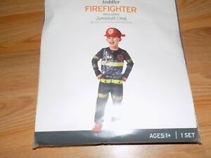 Toddler-Size-2-3T-Firefighter-Fire-Chief-Halloween-Costume-Jumpsuit-amp-Hat-New