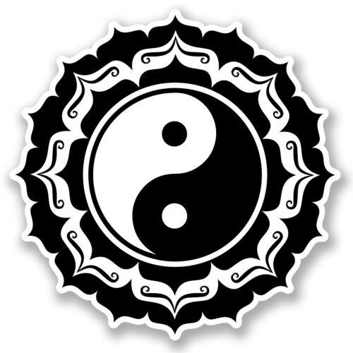 2 x 10cm Yin Yang Vinyle Autocollant Voiture Ordinateur Portable iPad Yoga méditation Karaté fun # 5235
