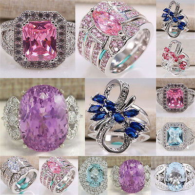 Women Fashion Jewelry 925 Silver Pink Sapphire Men Wedding Ring Size 6-13