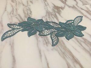 Turquoise blue venise lace embroidery applique motif tutu dance