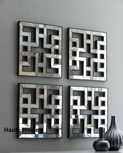 Image is loading NEW-Horchow-Four-Fretwork-Mirrors-Set-Wall-Mirror-