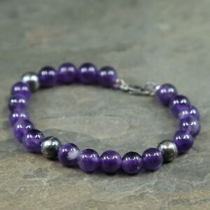 7-Mexico-Sterling-Silver-Handmade-Bead-Bracelet-925-silver-N-Amethyst-beads