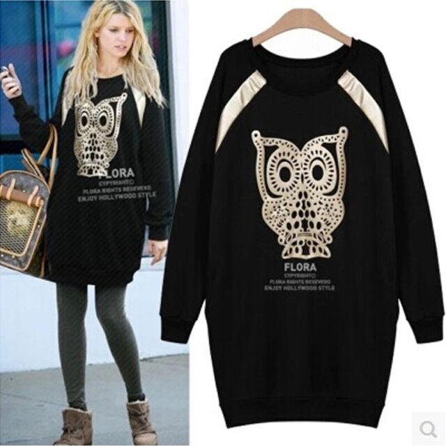 Winter Autumn Women Owl Long Cotton T-Shirt Blouse Top Jumper Dresses Plus Size