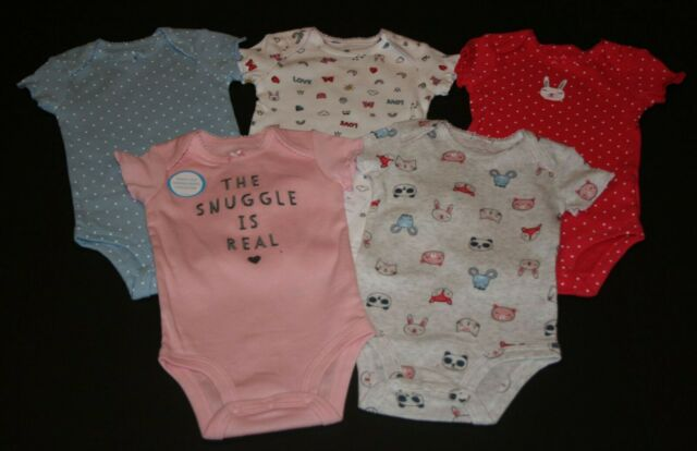 Carters Baby Girls 5 Pack Bodysuits 126g125