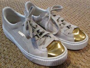 3a09f3e6d06d Image is loading Puma-Womens-Suede-Platform-Gold-Toe-Beige-Sneakers-