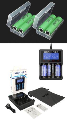 Xtar VC4 Ladegerät 4x Samsung Li-Ionen Akku INR18650 25R 3,7V 2500mAh 20A