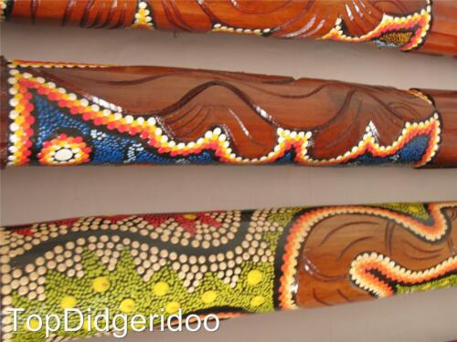 WITH SMALL SHALLOW CRACKS Dot Painted/&Carved Aboriginal Didgeridoo Great Sound