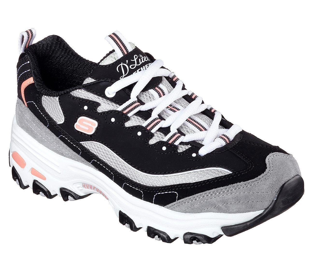 Black Dlites Skechers shoes Women's Sport 11947 Casual Memory Foam Sport lace Up