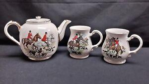 Sadler-England-Hunting-Hunt-Foxhounds-Large-Teapot-amp-Pair-of-Mugs-Tankards