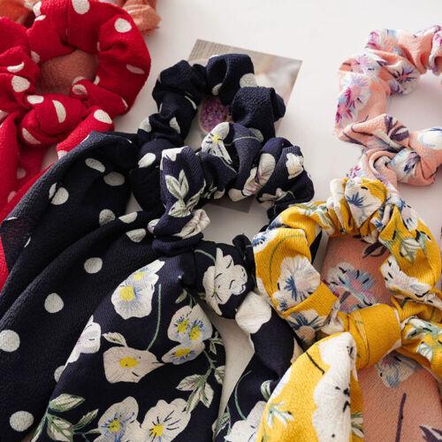 Women Hair Scrunchies Scarf Dot Floral Print Elastic Bow Hair Rope Hair Ties