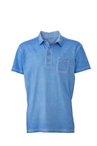 Washed out Vintage Men Pocket Polo Shirt Business Vintage Breast Pocket