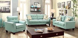 Transitional Blue Flax Fabric 2 Pc Sofa Loveseat Pillows Living Room Set Pillows