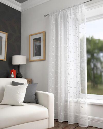 Harrogate Voile Rideau Panneau Brodé Floral Feuilles blanches ✔ Vendeur Britannique ✔