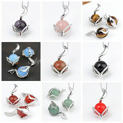 Quartz/Agate/Ametyst/Opal Gemstone Round Bead Fox Pendant For Necklace DIY