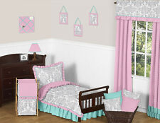 Sweet Jojo Designs Pink Gray Blue Damask Girl Toddler Kid Polka Dot Bedding Set
