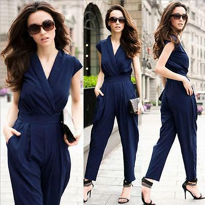 Ladies Womens New Cocktail Evening Party V Neck Sleeveless Jumpsuit Romper Pants