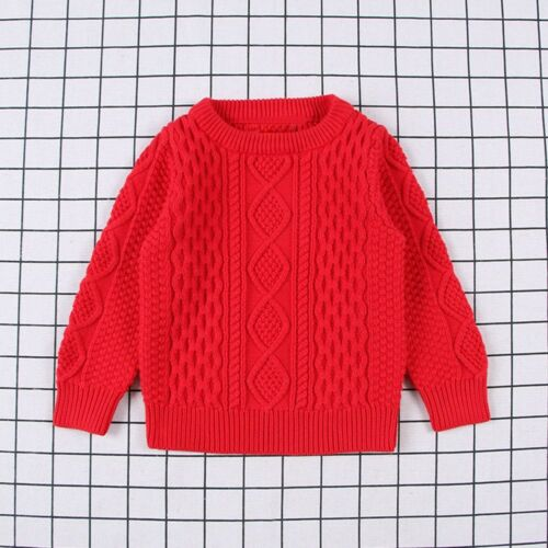 Toddler Children Baby Girl Boy Knitted Sweater Solid Sewing Cardigan Top Clothes