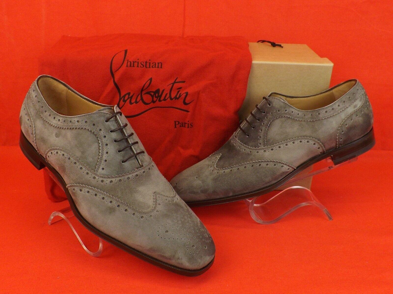 NIB LOUBOUTIN PLATTERISSIMO grigio SUEDE WINGTIP LACE UP OXFORDS BROGUE scarpe 42 9