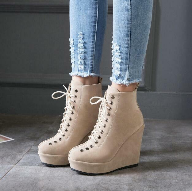 Womens Super High Wedge Heel Platform Faux Suede Lace Up Warm Ankle Boots Ske15