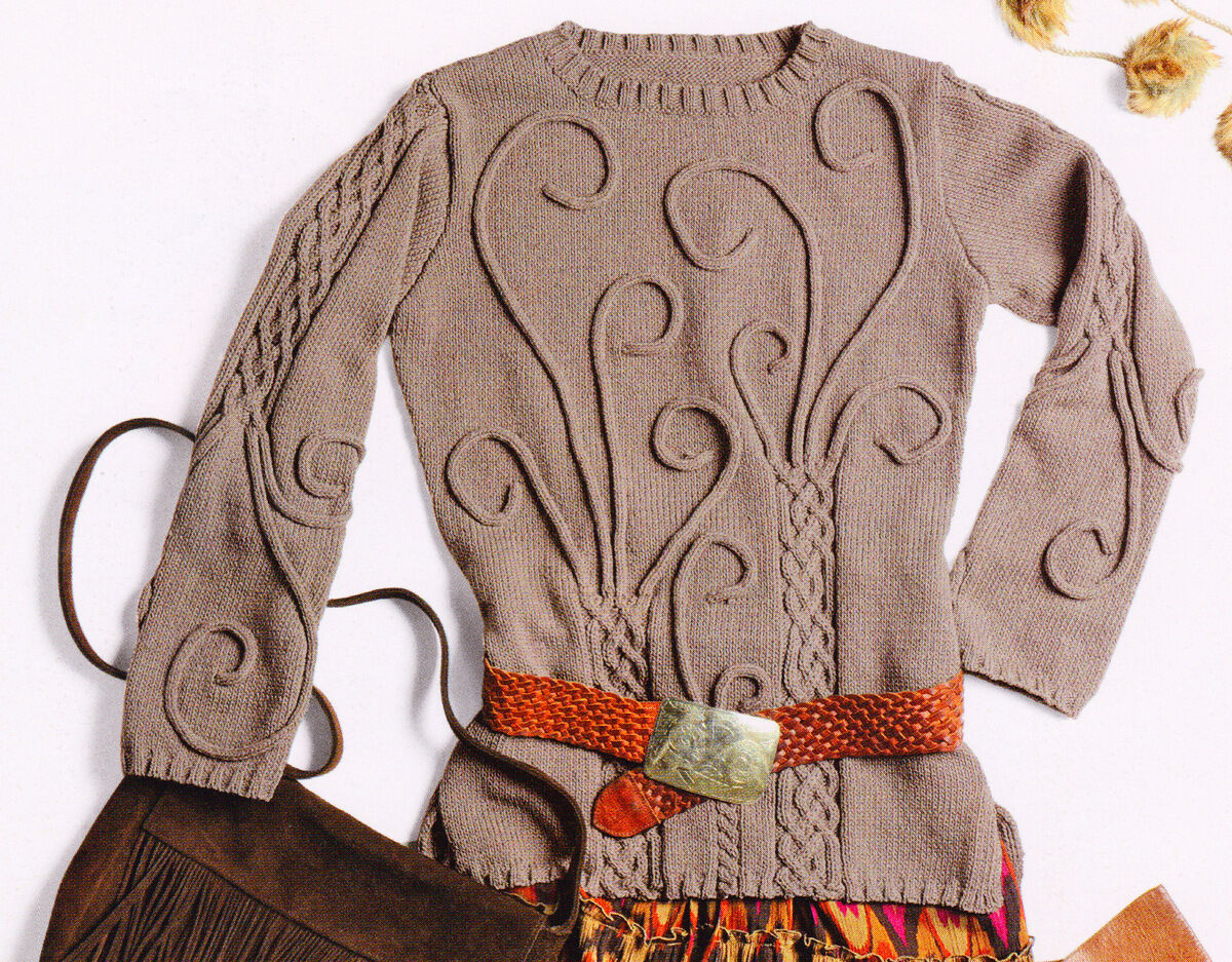 Celtic Cable & I-cord Sweater ~ 32\