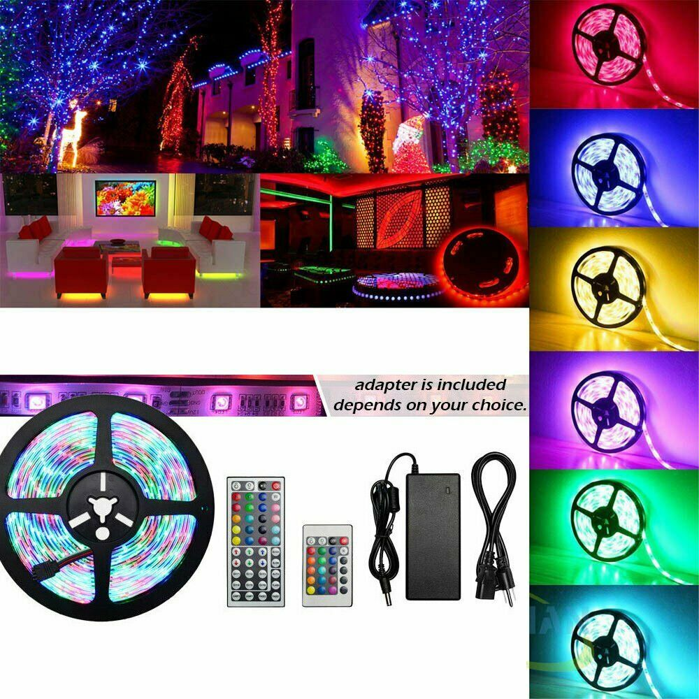 5M 300 LED 3528 5050 Tira de Luz RGB multiColor cinta de cinta + Control Remoto + Enchufe de Reino Unido