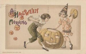 S21-1106-New-Price-Rare-Winsch-Halloween-Postcard-Boy-Girl-JOL-1915