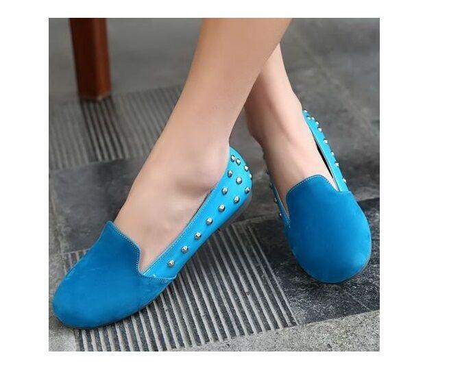 Bailarinas mocasines zapatos de mujer pan de la tierra azul talón 1 elegantes