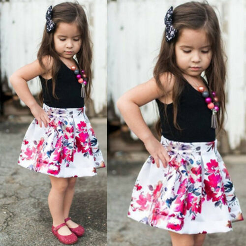 2PCS//Set Kids Infant Baby Girl T-shirt Tops+Floral Skirt Dress Outfit Clothes US