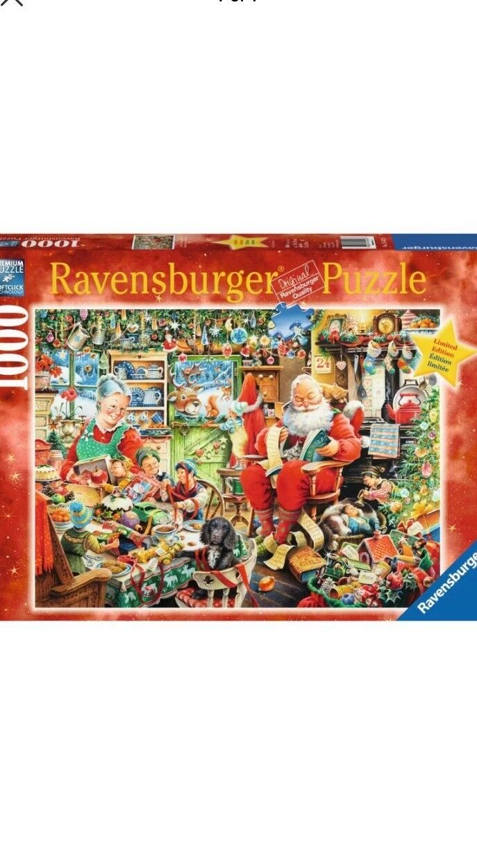 Ravensburger Santa's Final Preparations Christmas 1000 Piece Puzzle NEW Sealed