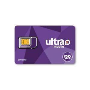 PreLoaded Ultra Mobile SIM Card with $29 Plan,1st Month Services included 743724395822
