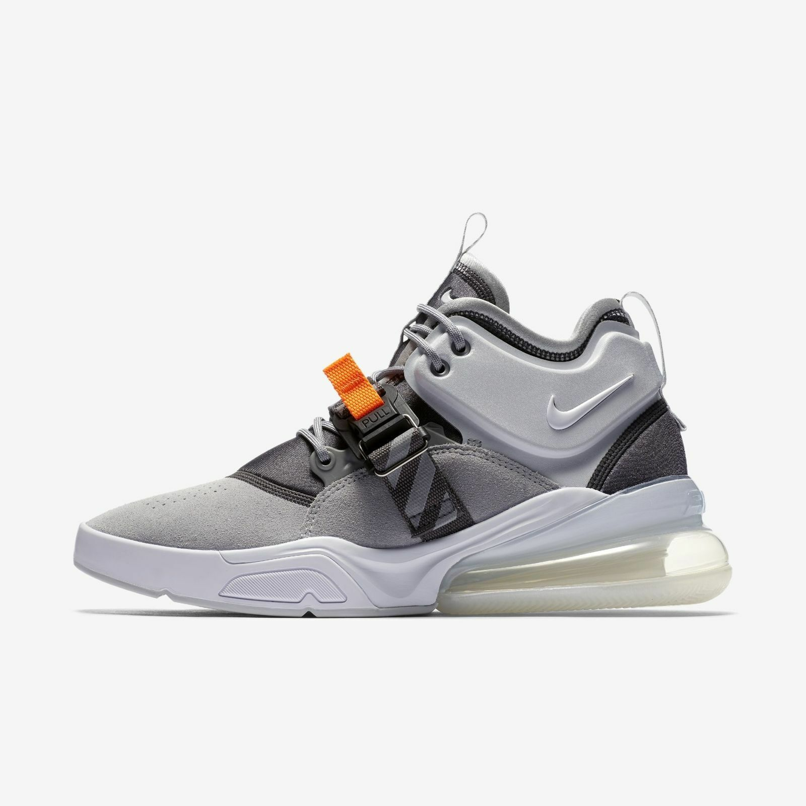 New Nike Air Max 270 Wolf Grey White Dark Grey Sail Orange Size 9.5 AH6722 002