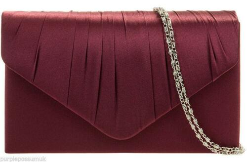 Burgundy Clutch Bag Claret Satin Evening Bag Wine Red Shoulder Bag Prom Bag New