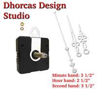 (012) Quartz Clock Kit 3/4 Thread Shaft, Hanger & 3.5 Silver Hand