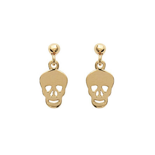 BOUCLES d/'oreilles petite TÊTE de MORT en Plaqué OR 18 carats NEUF  BEAUX BIJOUX