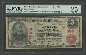 FR587-796-5-1902-RED-SEAL-034-YALE-NEW-HAVEN-CT-034-PMG-25-VF-EXT-RARE-WLM7422