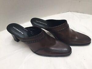 Liz-Claiborne-Women-s-Brown-Leather-Clog-Heels-Size-8M-Unite-Very-Nice